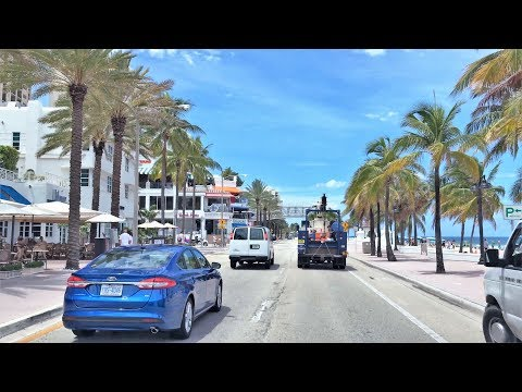 Beach Town Driving - Fort Lauderdale Beach Florida USA 4K