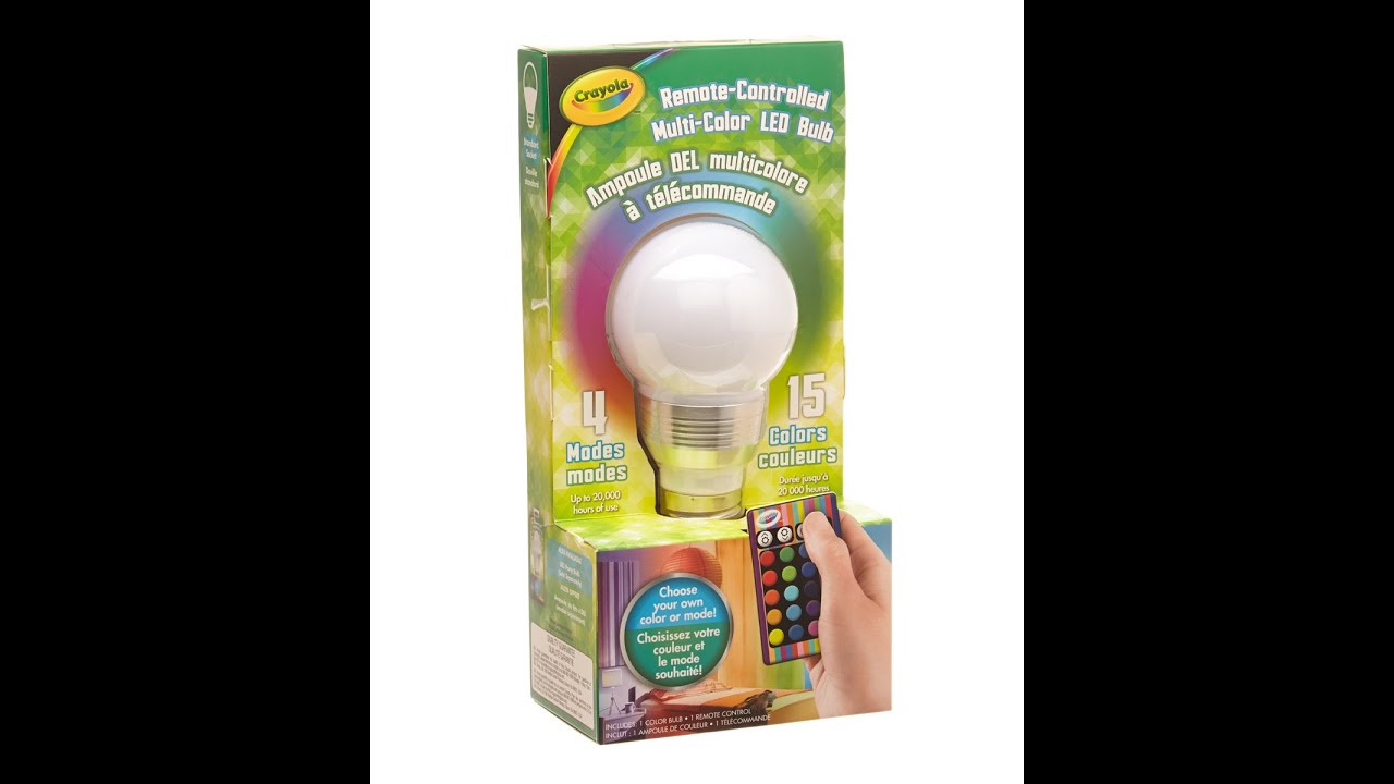 REVIEW Of The Crayola Remote Controlled LED Color Changing Lightbulb!    YouTube