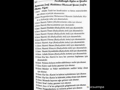 Ramazan-ı Şerif Boyunca Okunacak Yasin-i...