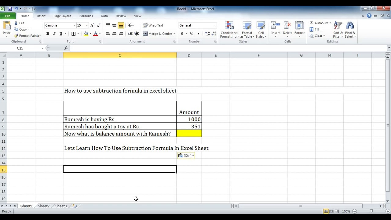 How To Use Subtraction Formula In Excel Sheet Youtube