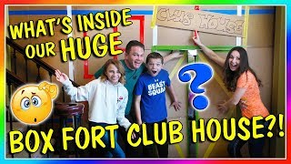 WHAT'S INSIDE OUR HUGE BOX FORT CLUB HOUSE? | We Are The Davises