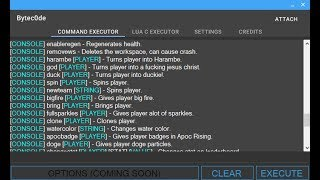 Roblox Level 7 Hack/Exploit Bytec0de! (Fencing reach, changestat, 100+ commands)