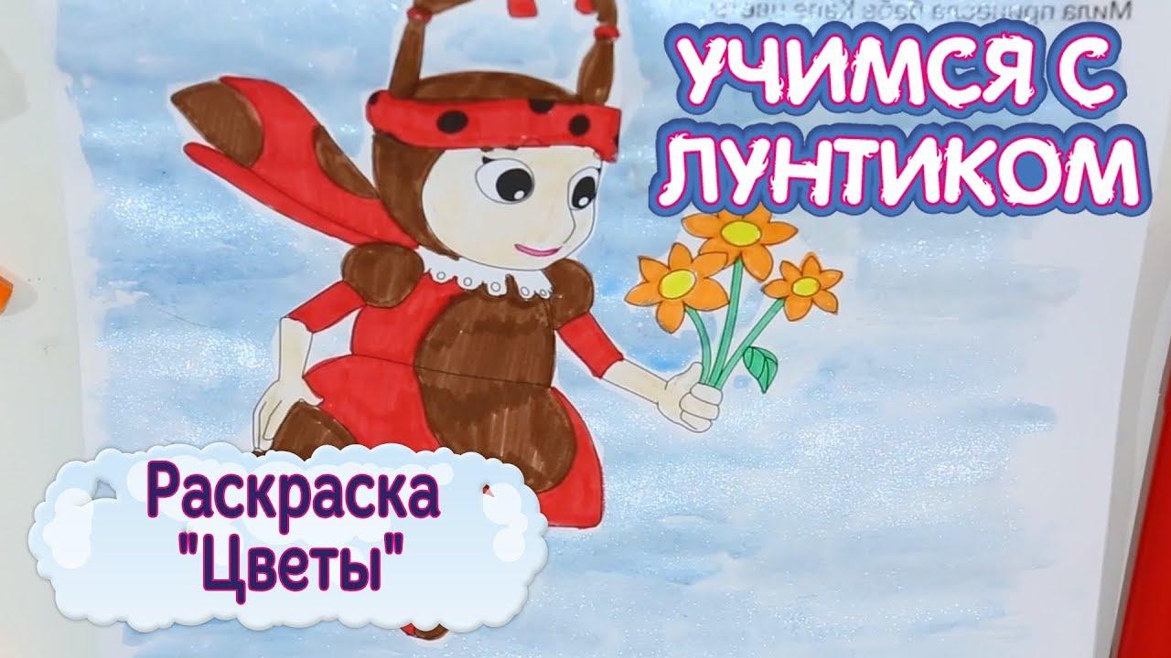 """Раскраска 🌈 """"Цветы"""" 🌼 Учимся с Лунтиком 🌻 Новая серия ..."""
