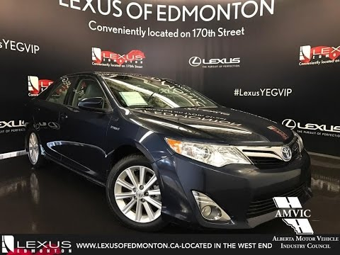 Used 2014 Blue Toyota Camry Hybrid XLE Walkaround Review / Airdrie Alberta