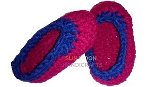 How to make crochet shoes/crochet baby booties/making baby slipper