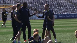 Usain Bolt takes on football as he trains with Aussie team