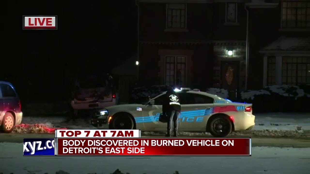 Body discovered in burned vehicle on Detroit\'s east side - YouTube