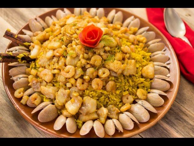 سنجاري - الجزء الأول - أرز كبسة بالخضروات وسي فود صوص الكبسة سلطة الخضار بالتونة
