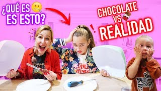 CHOCOLATE VS REAL 🍫 Chocolate VS realidad CHALLENGE - ¡Me COMO un PINTALABIOS! 🤮