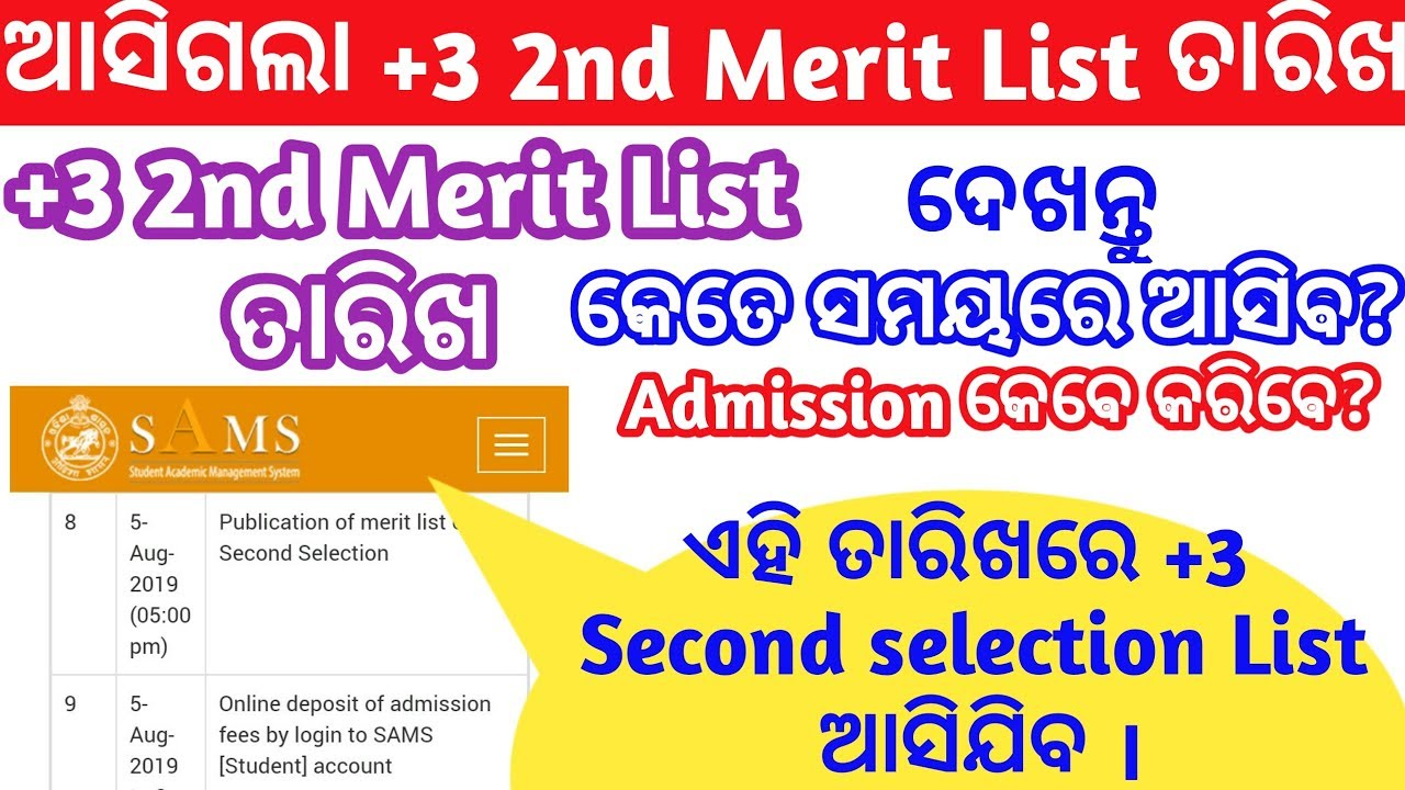 Repeat +3 2nd Selection Merit list Date 2019    +3 second Selection