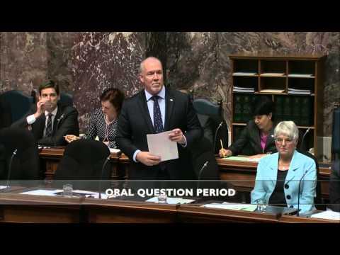 BCNDP Leader John Horgan questions BC Liberal culture of deceit, deception and delete