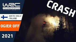 Crash! Ogier OFF on SS8 at WRC Arctic Rally Finland 2021 (crew ok)