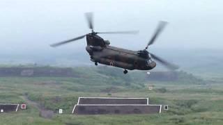 総火演2011 CH-47 チヌーク 180度旋回.