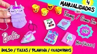 4 MANUALIDADES con FOAMY / GOMA EVA |Cositas FÁCILES para MUÑECAS Barbie | MANUALIDADES PARA MUÑECAS