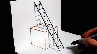 How to Draw a 3D Cube and Ladder - Trick Art for Beginners