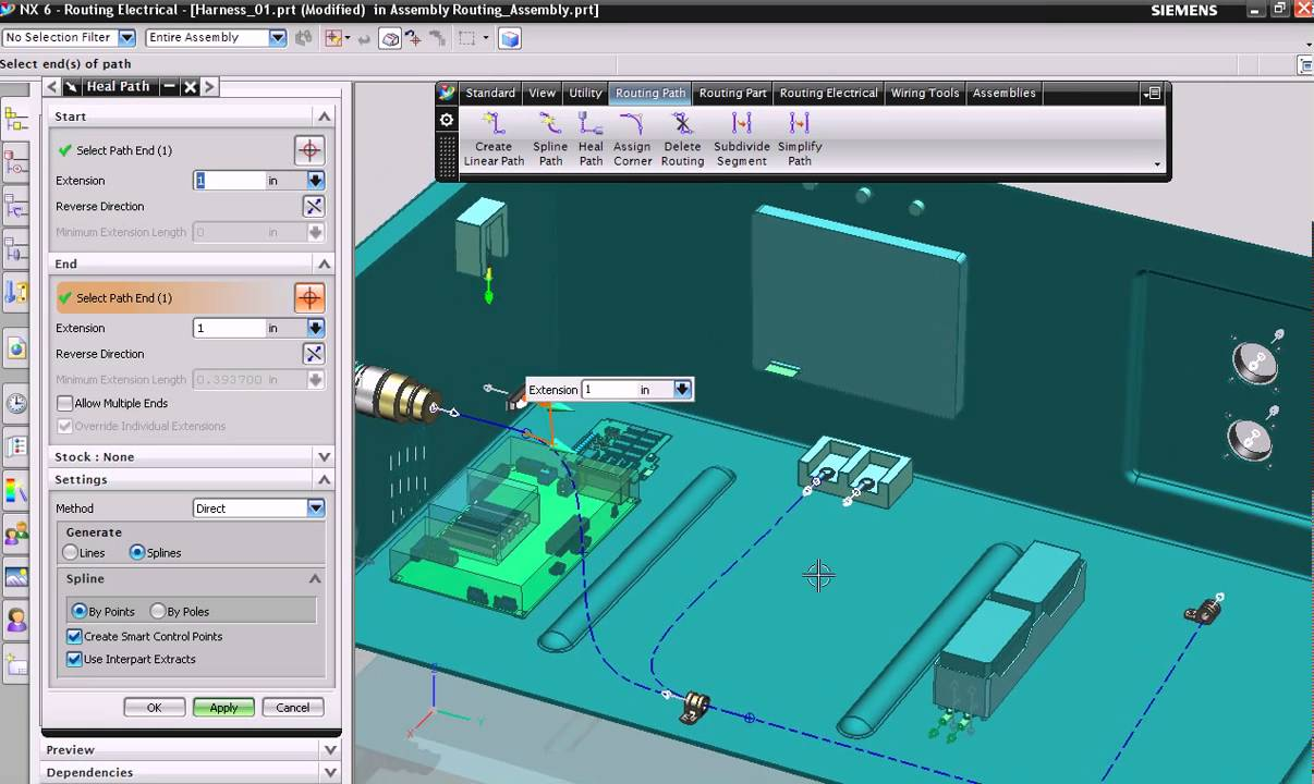 2. NX electrical routing: Create path - YouTube