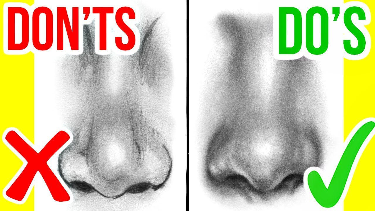 Do's & Don'ts: How To Draw A Realistic Nose  Step By Step Drawing Tutorial