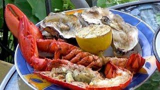 Hummer und Austern schnell auf dem Grill zubereitet