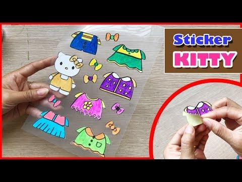 CÁCH LÀM HÌNH DÁN HELLO KITTY & 6 BỘ QUẦN ÁO - DIY Sticker Hello Kitty (Chim Xinh)