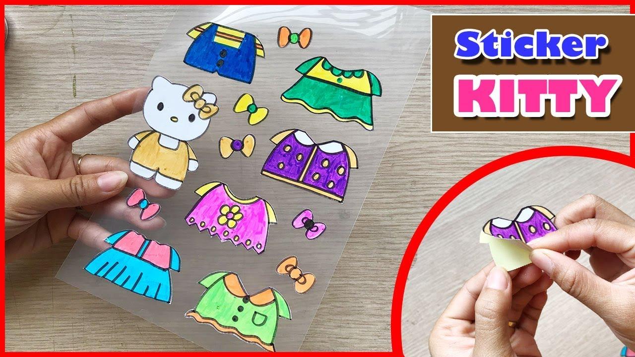 CÁCH LÀM HÌNH DÁN HELLO KITTY & 6 BỘ QUẦN ÁO – DIY Sticker Hello Kitty (Chim Xinh)