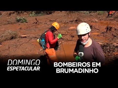 Repórteres do Domingo Espetacular acompanham bombeiros em Brumadinho