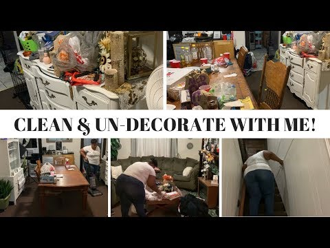 SUPER TRASHED HOUSE! CLEAN & UN-DECORATE WITH ME! MOVING INTO THE HOLIDAYS!