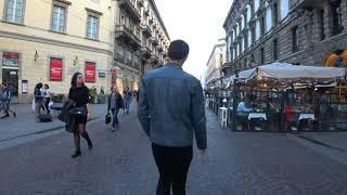 Milan - A walk along Via Dante (4K)