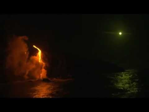 Lava enters the sea on Lunar Eclipse