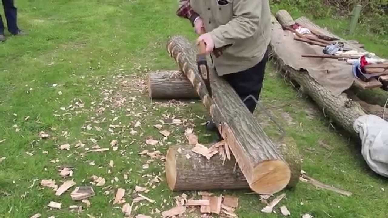 Traditional Log to Beam Hewing - Huge Axes