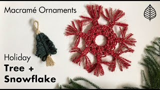 "Macrame Holiday Snowflake  Tree Ornaments Б«""ОёЏ  Macrame Christmas Decor"
