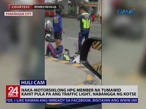 24 Oras: Naka-motorsiklong HPG member na tumawid kahit pula pa ang traffic light, nabangga ng kotse