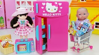 Hello Kitty refrigerator and Baby doll picnic kitchen toys play 헬로키티 꽁꽁 냉장고와 리틀미미 피크닉 뽀로로 아기인형 장난감놀이