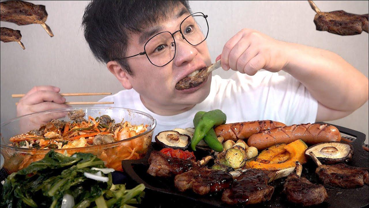 먹방창배tv 양갈비 초보 여기로 골뱅이쫄면과함께 맛사운드 대박 레전드 yang galbi jjolmyeon mukbang Legend koreanfood asmr