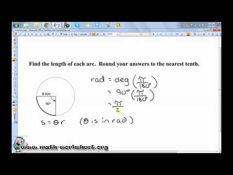 Circles - Arc length and sector area Worksheets
