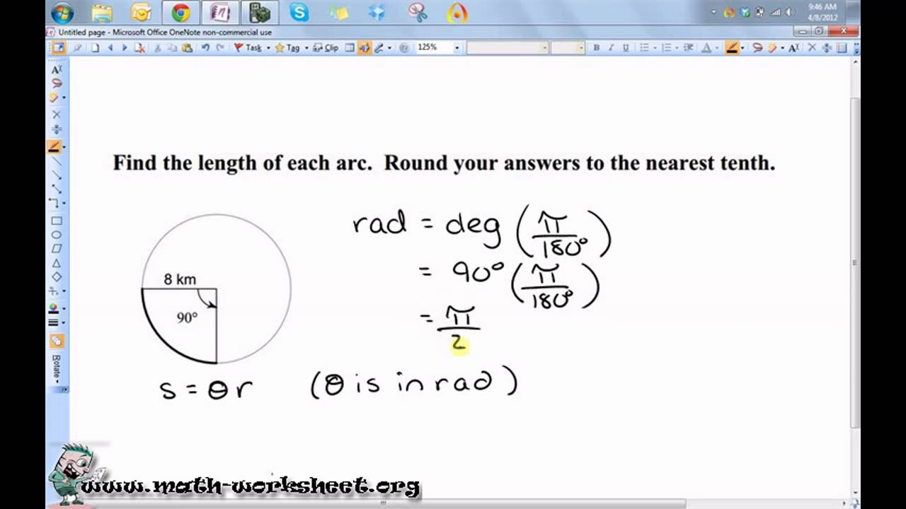 Worksheets Area Of A Sector Worksheet geometry circles arc length and sector area easy youtube