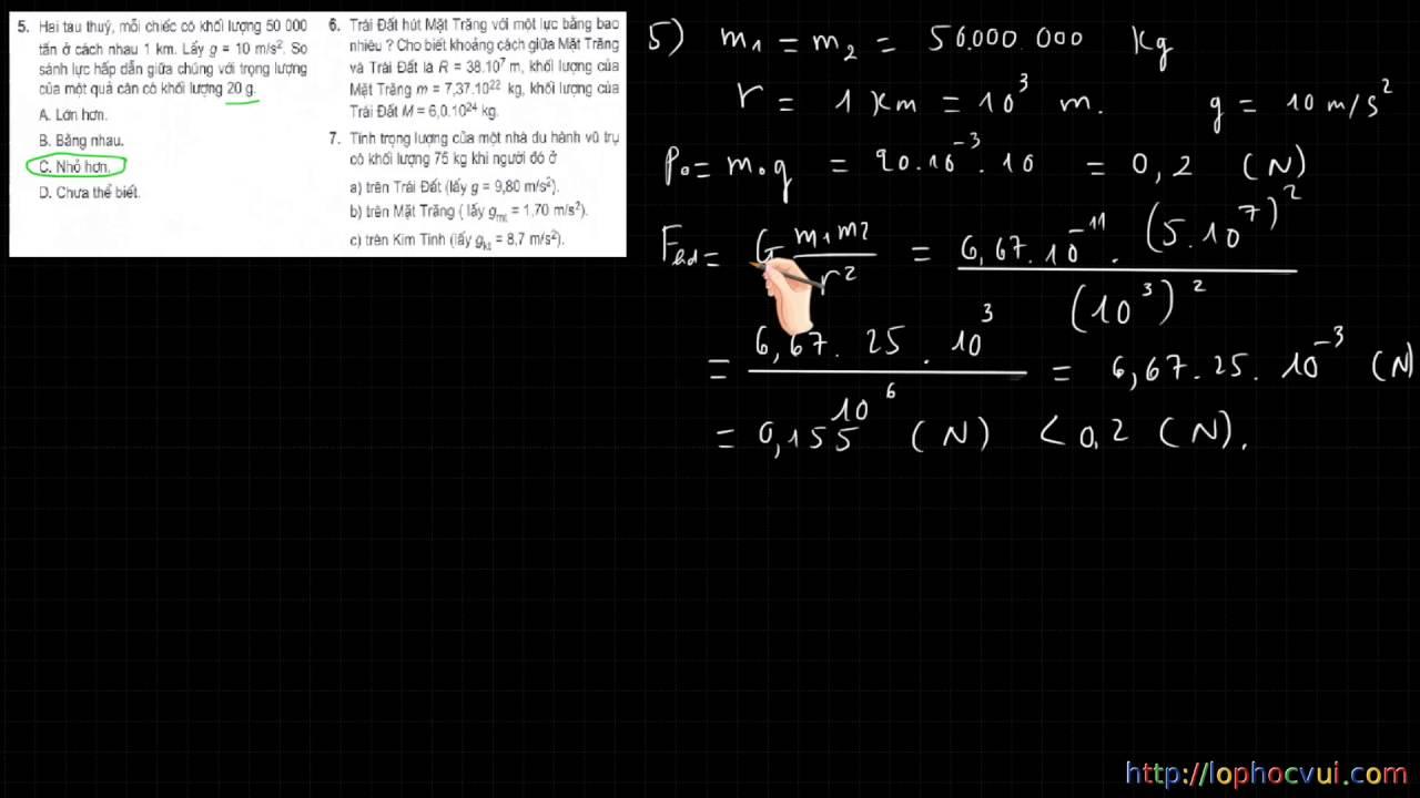 [Vật lí 10 cơ bản] Bài 11 – HƯớng dẫn giải bài tập SGK về lực hấp dẫn