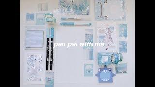 pen pal with me #3   blue theme + mini unboxing