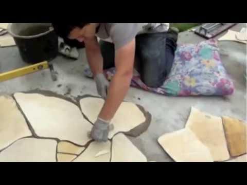 polygonalplatten verlegen install a stone patio youtube. Black Bedroom Furniture Sets. Home Design Ideas