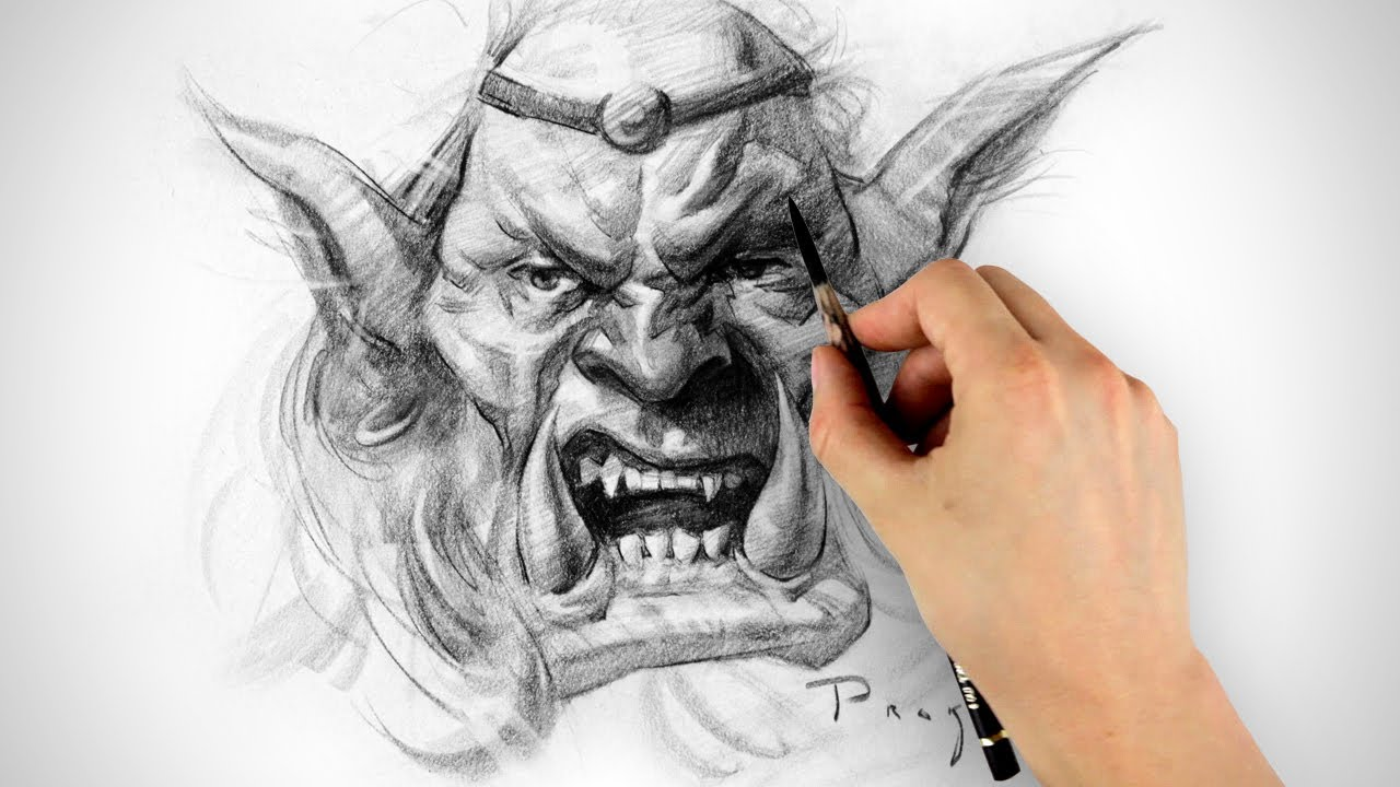 Orc Drawing - Timelapse - YouTube