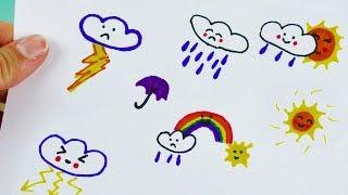 Malen im Kalender | Süße Kawaii Wetter Symbole ganz einfach nachmalen | Filofax Ideen