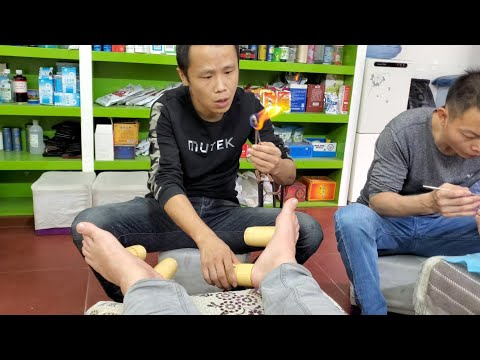 $11 CHINESE FOOT MASSAGE and FLAME CUPPING in Wuhan China (Hankou District) 4K