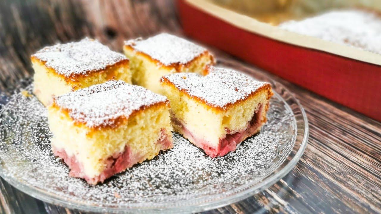 SZYBKIE PUSZYSTE ciasto z truskawkami 🍓#234