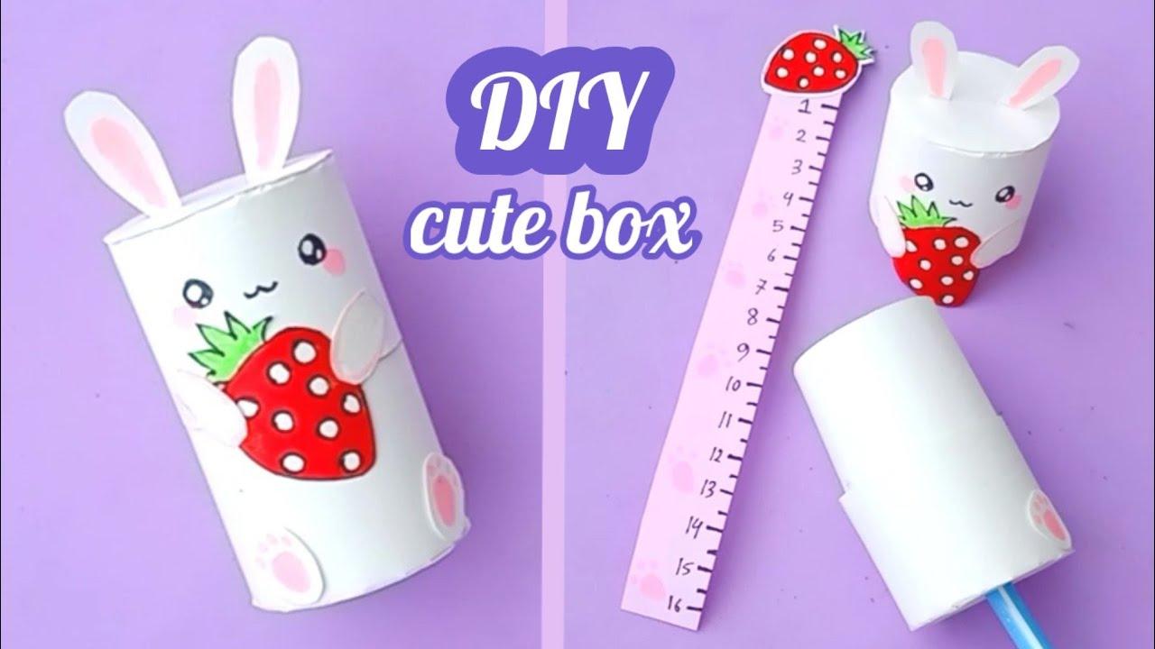 How to make Sharpener and Eraser box with ruler | DIY paper ruler | DIY Paper Crafts for School
