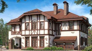 Проект дома в стиле Фахверк 250 кв м на склоне, 4 спальни | Ремстройсервис М 295