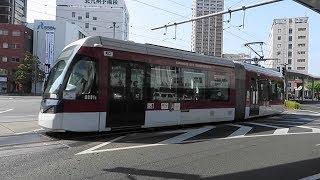 熊本市交通局 熊本駅前にて A系統 超低床電車 他 2017.4