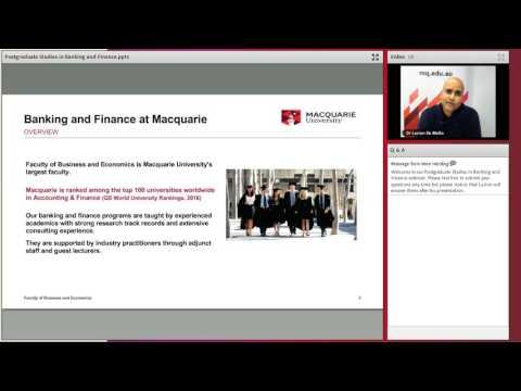Postgraduate studies in banking and finance webinar - June 2017