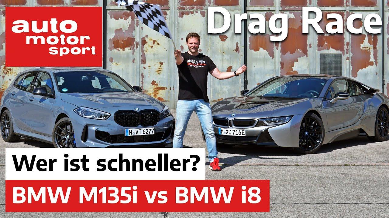 Drag Race: BMW i8 vs M135i - Wer liegt auf der 1/2 Meile vorne? | auto motor und sport