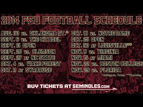 graphic relating to Fsu Football Schedule Printable called Florida Country Releases 2014 Soccer Plan