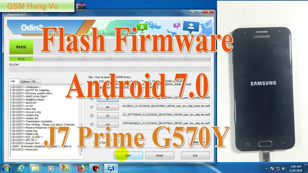 Flash Firmware Android Nougat for Galaxy J5 Prime G570Y by Odin