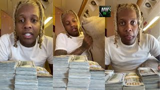 Lil Durk on a jet counting money early while everyone sleep